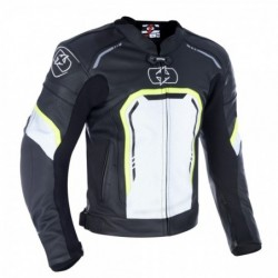 OXFORD - STRADA LEATHER SPORTS JACKET BLACK/ WHITE/ FLUO XL