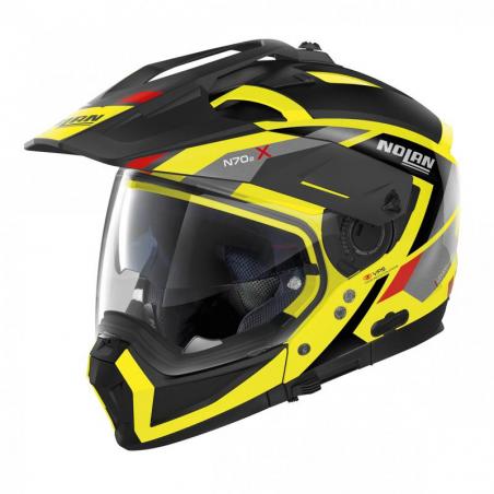 Casca moto Nolan Crossover N70-2 X Grandes Alpes N Com galben fluo/negru