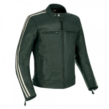 OXFORD - MEN'S BLADON LEATHER JACKET RACING GREEN XL