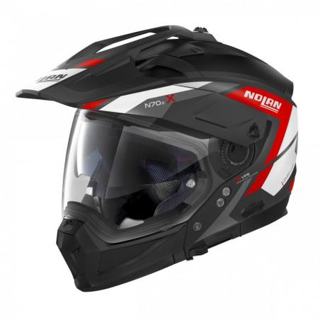 Casca moto Nolan Crossover N70-2 X Grandes Alpes N Com negru mat/rosu